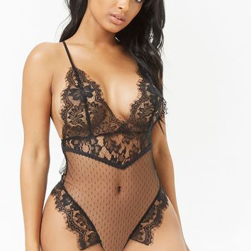 Sheer Lace & Mesh Bodysuit
