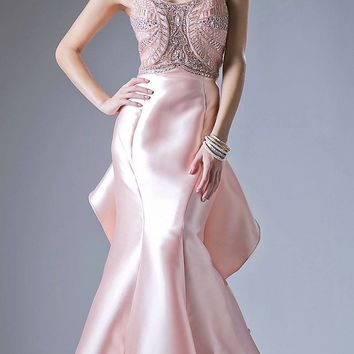 Blush Cut-Out and Ruffled Back Mermaid Prom Gown