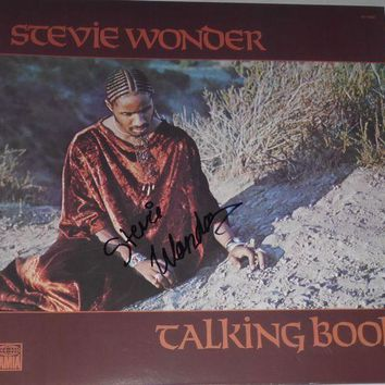 ONETOW Stevie Wonder Signed Autographed 'Talking Book' Record Album (PSA/DNA COA)