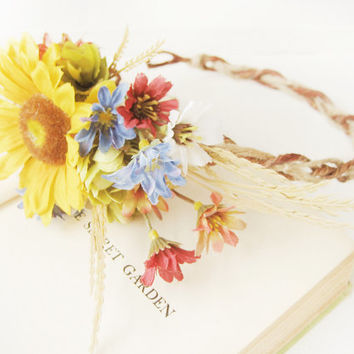 Rustic Sunflower Bridal Headpiece, Flower Crown, Floral Headband, Summer Wedding, Bohemian, Natural, Romantic, Country, Yellow, Blue, Red