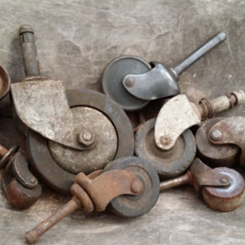 Set of 8 Random Vintage Rusty Metal and Wood Industrial Furniture Leg Casters Wheels Restoration Project Decor Altered Art Supply (4)