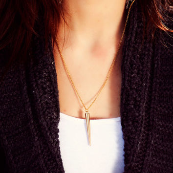 Spike Necklace, Long Spike Necklace, Modern Everyday Jewelry