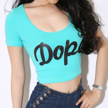 ZLCY Dope Low-cut Super Tight Cotton Printed Crop Tee Shirts for Women