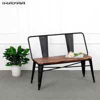 Natural Pinewood Top Metal Frame Patio Garden Bench Furniture