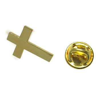 Gold Toned Religious Cross Lapel Pin