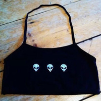 Silver Glitter / Holographic Alien Halter Neck Crop Top Black
