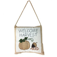 """Vintage """"Welcome Harvest"""" Embroidered Pumpkin&  Acorn Hanging Mini Pillow"""