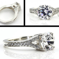 2 Carats Forever Brilliant Moissanite 14K White Gold Diamond Engagement Ring - Gem791