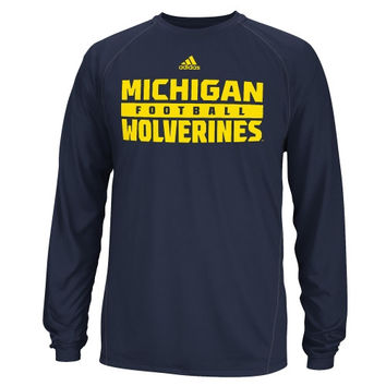 Michigan Wolverines adidas Long Sleeve ClimaLite Redzone Evade T-Shirt - Navy Blue