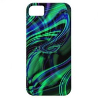 Abstract Neon Aqua N Blue Waves iPhone 5 Cases from Zazzle.com