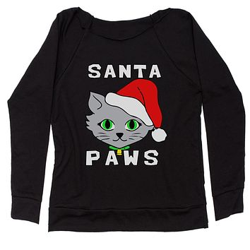 Santa Paws Cat Kitten Ugly Christmas  Slouchy Off Shoulder Oversized Sweatshirt