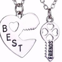 Heart and Key Vintage Puzzle Best friends Jewelry