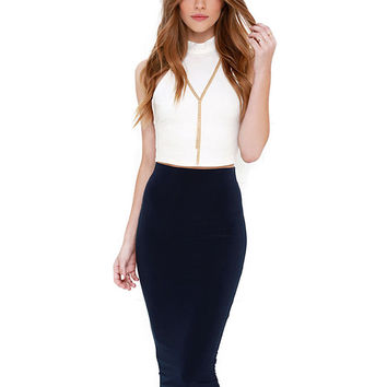 Solid Color High Waisted Pencil Skirt