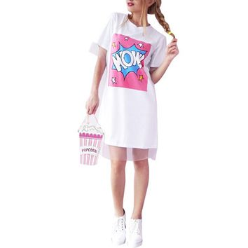 Organza Lace Summer Dress WOW T-shirt Dresses Straight Women Letter Print Mesh Patchwork Short Sleeve Casual Dress LL2