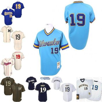 Blue 1991 Throwback Robin Yount Authentic Jersey , Men's #19 Mitchell And Ness Milwaukee Brewers cream 1913 Turn Back The Clock