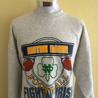 Vintage 90s Notre Dame Football Fighting Irish Mens Sweater Extra Large XL Grey