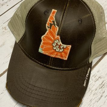 Idaho Floral Patch Trucker Hat-Leather Look