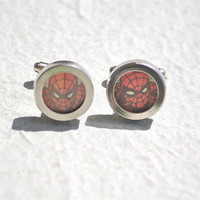 Spiderman cuff links spiderman stainless steel by Polyester10