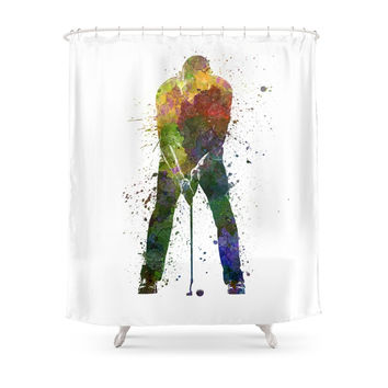 Society6 Man Golfer Putting Silhouette Shower Curtain