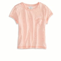 AE Destroyed Pocket T-Shirt, Black Acid | American Eagle Outfitters
