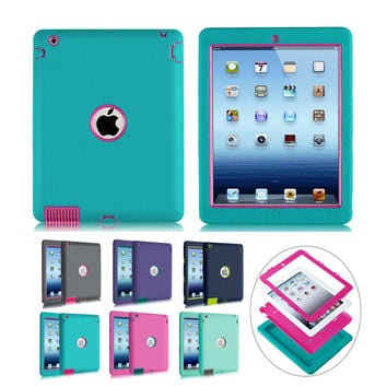 Heavy Duty Shockproof Silicone Case for Apple iPad Kid Safe Rugged Armor Hard Case
