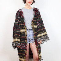 Vintage 1990s Southwestern Knit Tapestry Coat Fringe Trim Duster Jacket 1990s Hippie Boho Coat Mexican Blanket Bohemian M L Extra Large XL