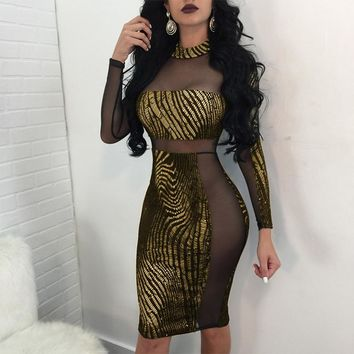 Women Shining Sexy Dress Long Sleeve Glitter Sequin Dress O-Neck Top Club Dress Stretch Pencil Slim Sequined Party Dresses