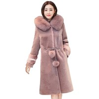 Partiss Women's Winter Mid-Length Faux Fur Hooded Button Up Outfits Coat