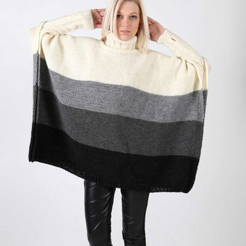 PDF pattern. Hand knitted one size multicolour poncho with sleeves. Digital pattern from Ilze Of Norway.