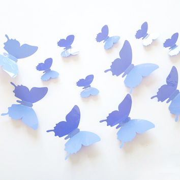 12 pcs Mirror Sticker Cute Wall Sticker Decor 3D Butterfly Wall Sticker For Room Decorative Mirror Butterfly Wall Sticker