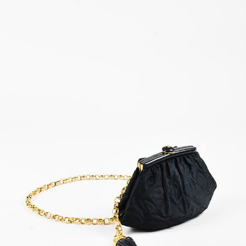 Chanel Vintage Black Satin Quilted Fringe Belt Bag