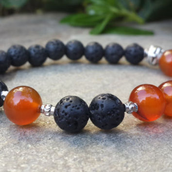 Men's Beaded Bracelet, Mens Carnelian Orange Nature Gemstone & Black Lava Stone Bracelet, Men Trend Jewelry, Positive Energy, Free Shipping