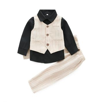 Formal Clothing Sets For Baby Boys Party Wedding Clothes Suits Spring Newborn Gentleman Baby Boy Outerwear Cloth Set Outfits Set