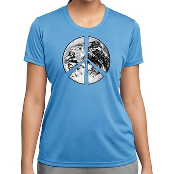 Buy Cool Shirts Ladies Peace T-shirt Earth Satellite Symbol Moisture Wicking Tee