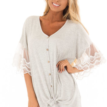 Heather Grey Button Up Top with Ivory Ruffle Lace Sleeves