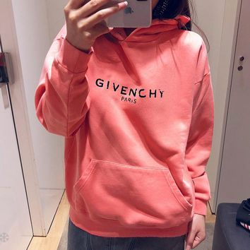 Givenchy Autumn Winter Fashion Women Men Casual Print Hooded Sweater Top Sweatshirt Pink
