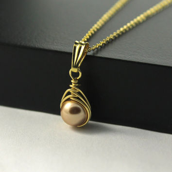 Wire Wrapped Herringbone Necklace - Rose Gold Swarovski Crystal 2c9849cf84