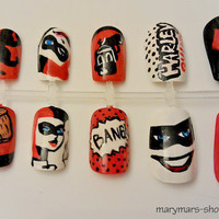 Harley Quinn Nail Art by MaryMars on Etsy