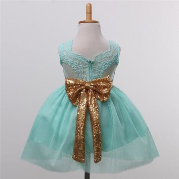 Gold & Mint Tulle Sequin Bow Back Dress