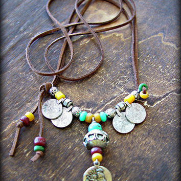 Boho Necklace - Hippie Necklace - Virgin Mary Necklace Gypsy Coin Necklace - Yoga Necklace - Boho Jewelry - Yoga Jewelry