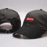 Black Suprerme Embroidered Cotton Adjustable Baseball Cap Hats
