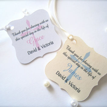 Baptism favor tags, baby christening tags, religious tags, cross tags - 30 tags
