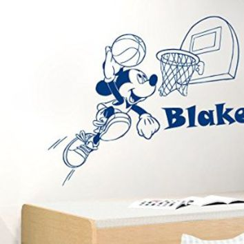 Wall Decal Name Personalized Custom Decals Vinyl Sticker Art Home Decor Mural Mouse Basketball Game Soccer Ball Nursery MS561