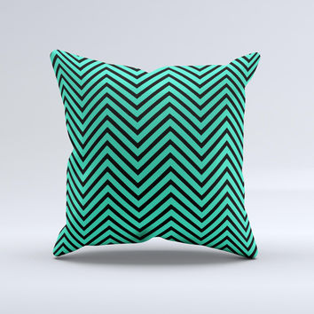 Sharp Chevron Black and Mint Green  Ink-Fuzed Decorative Throw Pillow