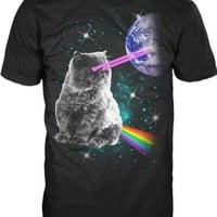 Laser Eyes Space Cat Mens Black T-shirt M