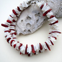 Puka Shell Bracelet with Red Coral Chips, red and white, Alabama Crimson Tide, Beach Bracelet, Shell Jewelry, Gift Ideas, Men's bracelet