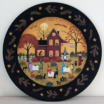 Folk Art Halloween Wood Plate - READY TO SHIP - Hand Painted Primitive Wooden Plate- Tea Shop Witches, black cats, pumpkins, bat, spider web