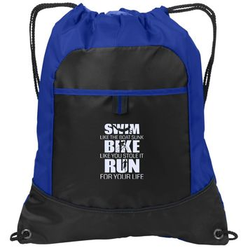 Swim Bike Run Workout Towel | Trucker Hat | Drawstring Backpack