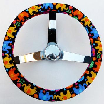 Multi Color Cute Elephants Handmade Steering Wheel Cover