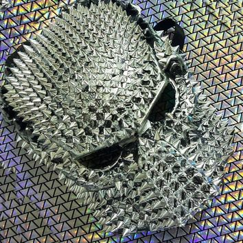 Holographic Spike Couture Mask